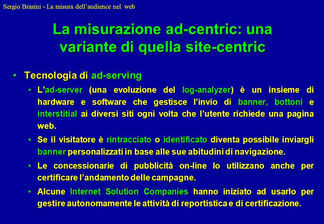 Sergio Brasini - La misura dellaudience nel web La misurazione ad-centric: una variante di quella site-centric Tecnologia di ad-servingTecnologia di a