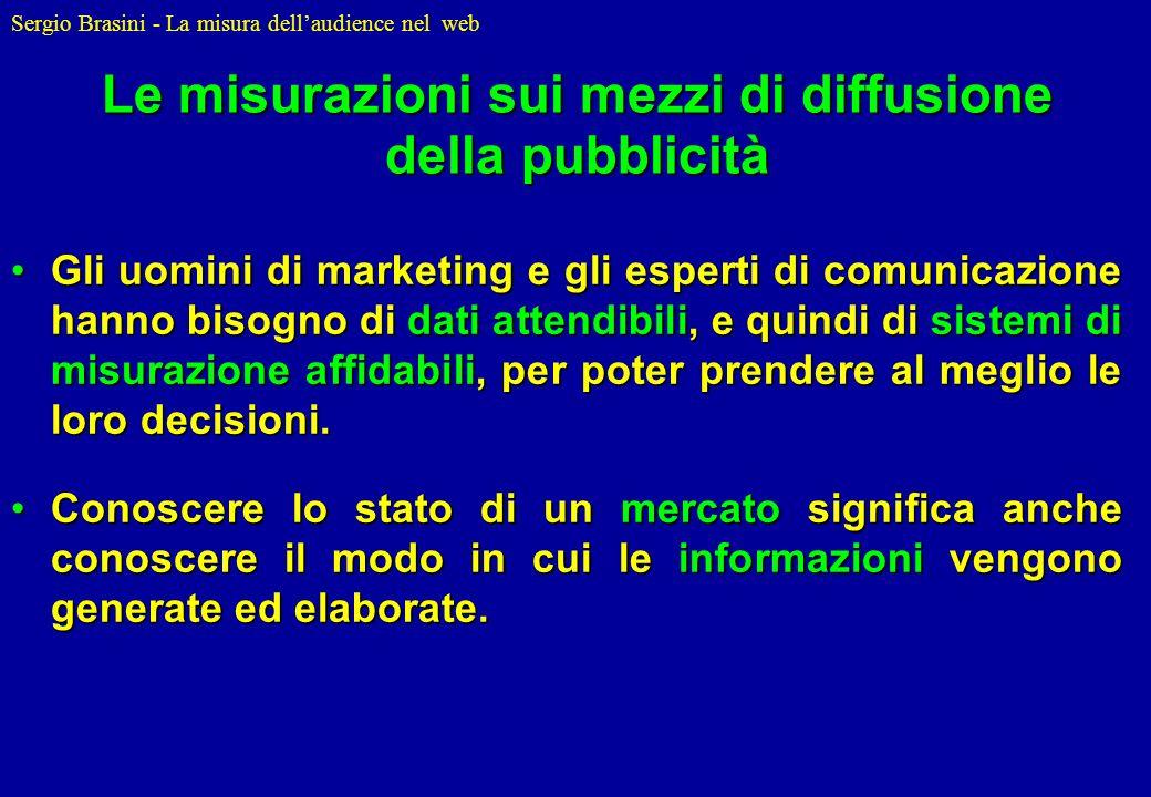 Sergio Brasini - La misura dellaudience nel web Le misurazioni sui mezzi di diffusione della pubblicità Gli uomini di marketing e gli esperti di comun