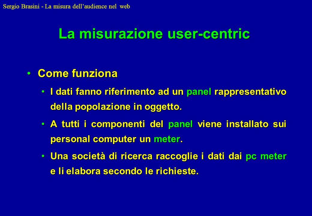 Sergio Brasini - La misura dellaudience nel web La misurazione user-centric Come funzionaCome funziona I dati fanno riferimento ad un panel rappresent