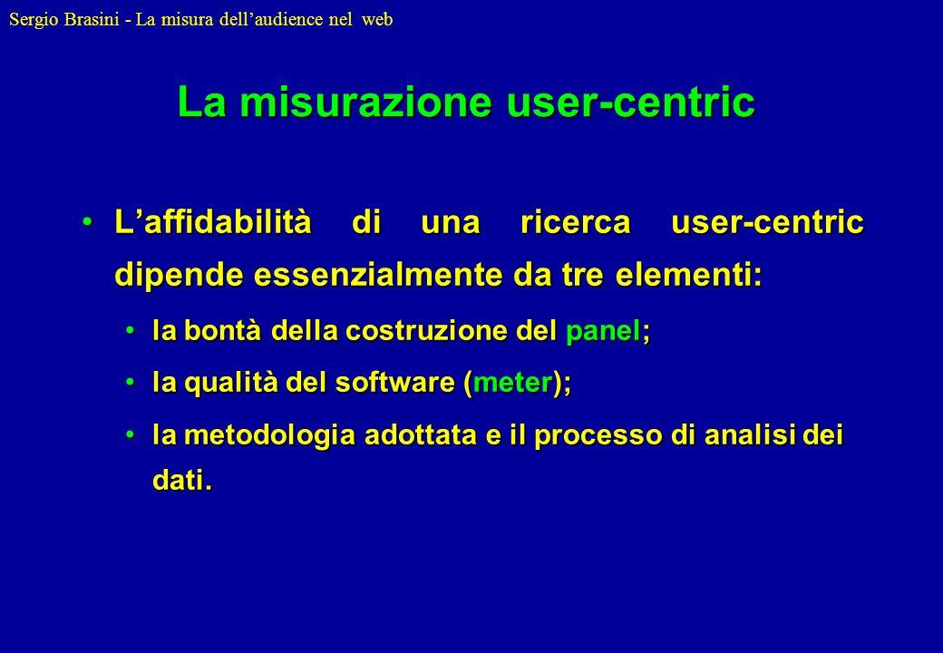 Sergio Brasini - La misura dellaudience nel web La misurazione user-centric Laffidabilità di una ricerca user-centric dipende essenzialmente da tre el