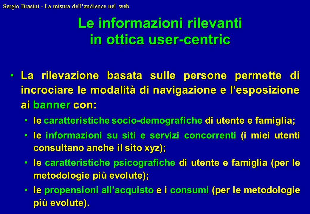 Sergio Brasini - La misura dellaudience nel web Le informazioni rilevanti in ottica user-centric La rilevazione basata sulle persone permette di incro