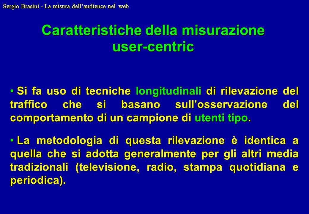 Sergio Brasini - La misura dellaudience nel web Si fa uso di tecniche longitudinali di rilevazione del traffico che si basano sullosservazione del com