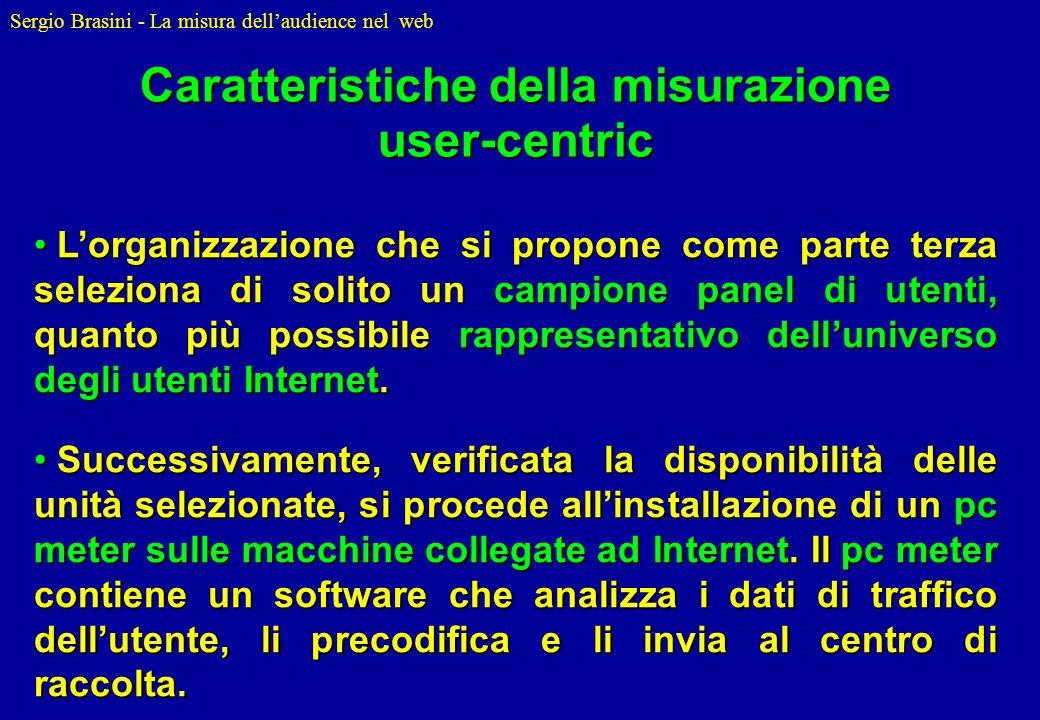 Sergio Brasini - La misura dellaudience nel web Lorganizzazione che si propone come parte terza seleziona di solito un campione panel di utenti, quant