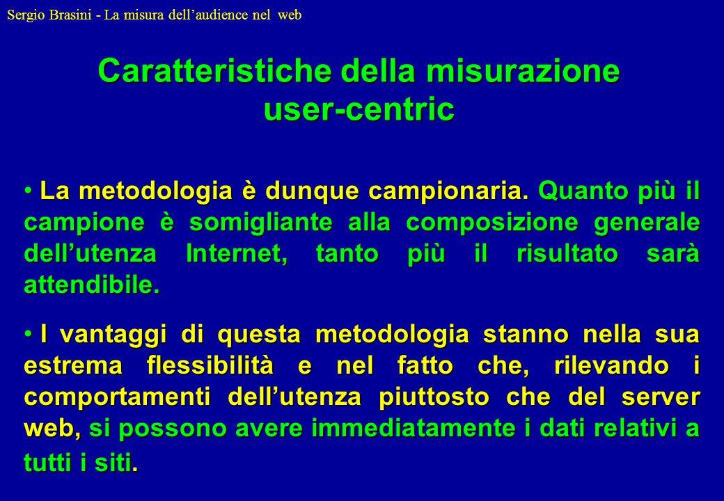 Sergio Brasini - La misura dellaudience nel web La metodologia è dunque campionaria. Quanto più il campione è somigliante alla composizione generale d