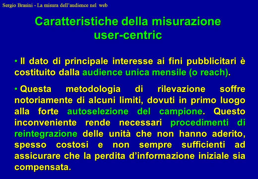 Sergio Brasini - La misura dellaudience nel web Il dato di principale interesse ai fini pubblicitari è costituito dalla audience unica mensile (o reac
