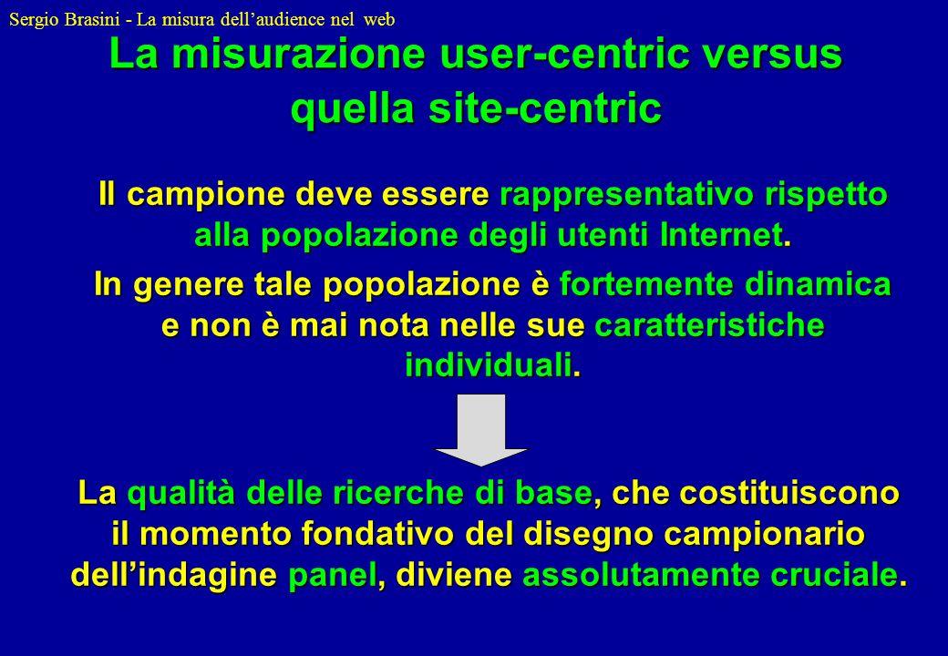 Sergio Brasini - La misura dellaudience nel web La misurazione user-centric versus quella site-centric Il campione deve essere rappresentativo rispett
