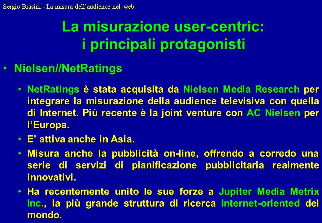 Sergio Brasini - La misura dellaudience nel web La misurazione user-centric: i principali protagonisti Nielsen//NetRatingsNielsen//NetRatings NetRatin