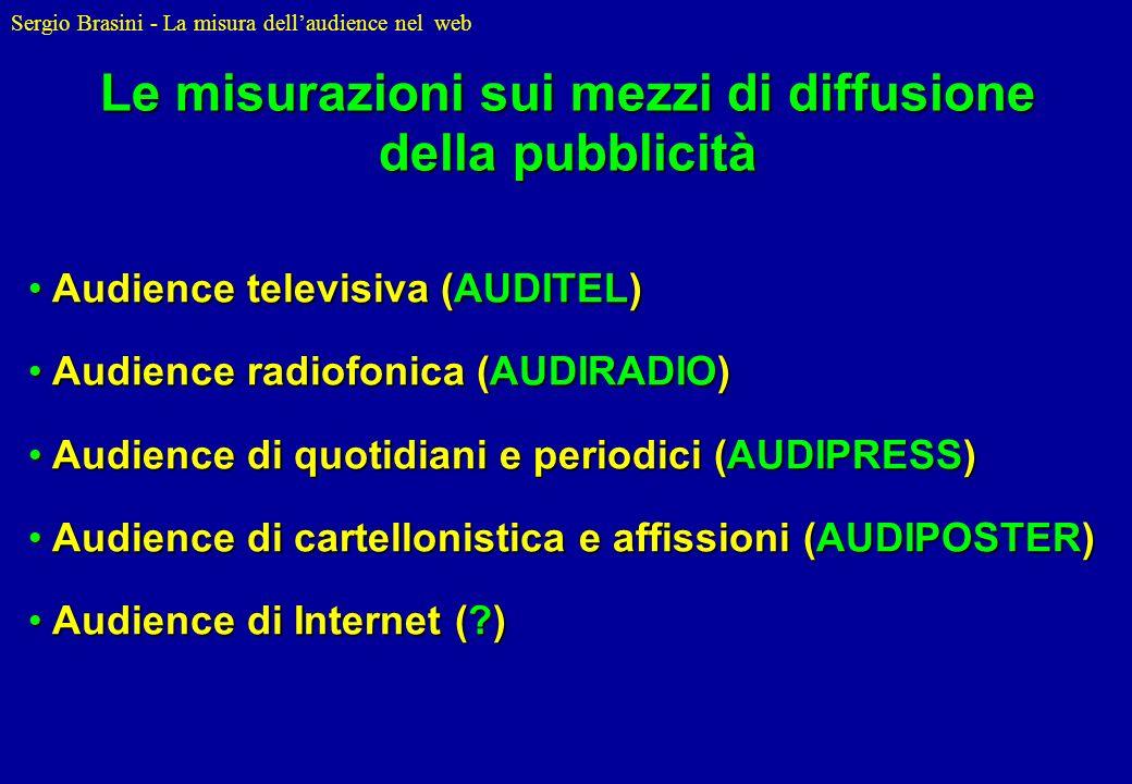 Sergio Brasini - La misura dellaudience nel web Audience televisiva (AUDITEL) Audience televisiva (AUDITEL) Audience radiofonica (AUDIRADIO) Audience