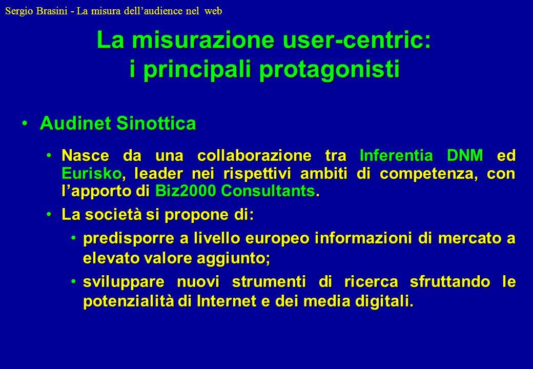 Sergio Brasini - La misura dellaudience nel web La misurazione user-centric: i principali protagonisti Audinet SinotticaAudinet Sinottica Nasce da una