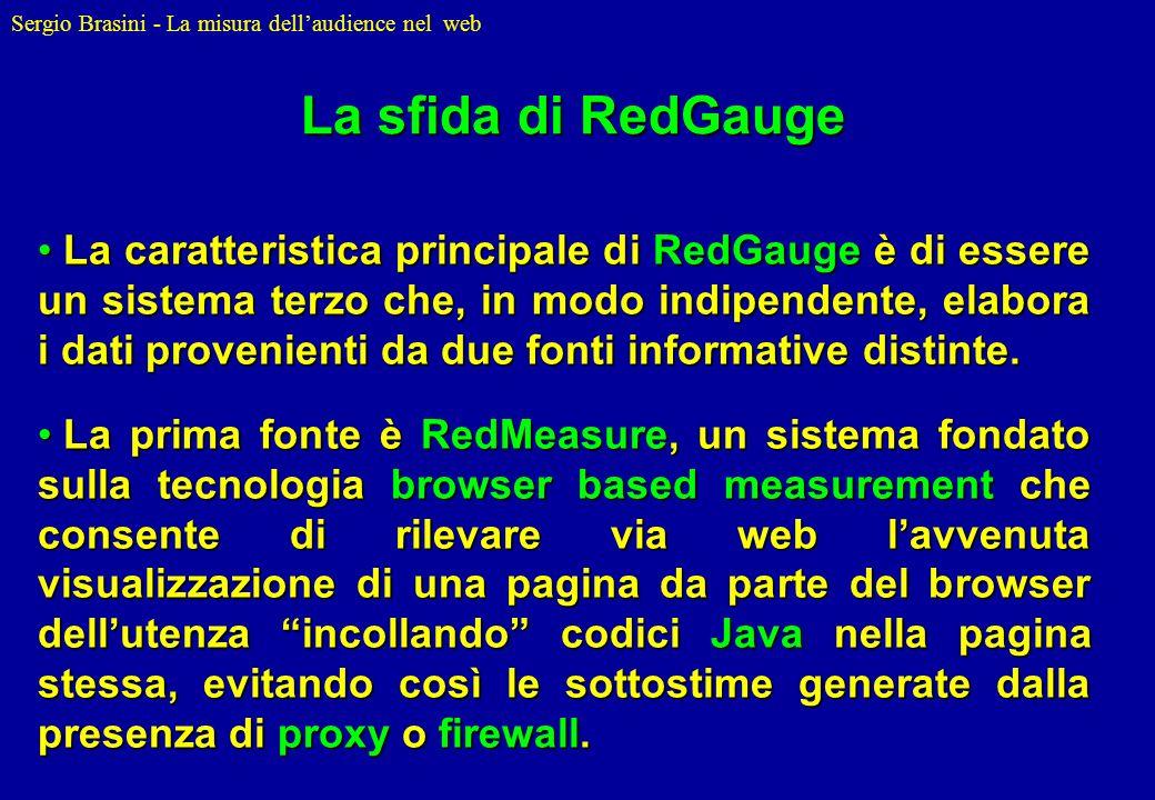 Sergio Brasini - La misura dellaudience nel web La caratteristica principale di RedGauge è di essere un sistema terzo che, in modo indipendente, elabo