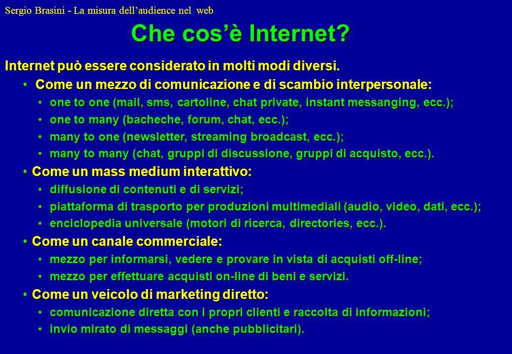 Sergio Brasini - La misura dellaudience nel web Per utente Internet si intende un individuo di almeno 15 anni di età che accede alla Rete autonomamente almeno una volta al mese.