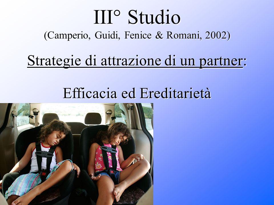 III° Studio (Camperio, Guidi, Fenice & Romani, 2002) Strategie di attrazione di un partner: Efficacia ed Ereditarietà