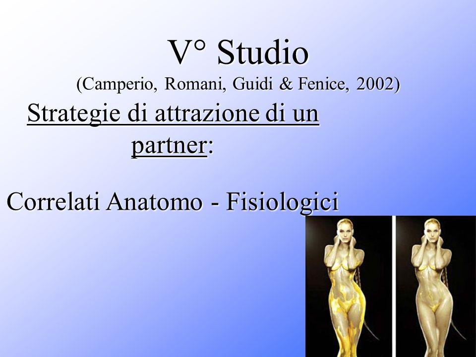 V° Studio (Camperio, Romani, Guidi & Fenice, 2002) Strategie di attrazione di un partner: Correlati Anatomo - Fisiologici