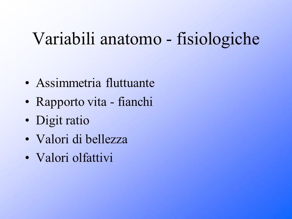 Variabili anatomo - fisiologiche Assimmetria fluttuante Rapporto vita - fianchi Digit ratio Valori di bellezza Valori olfattivi