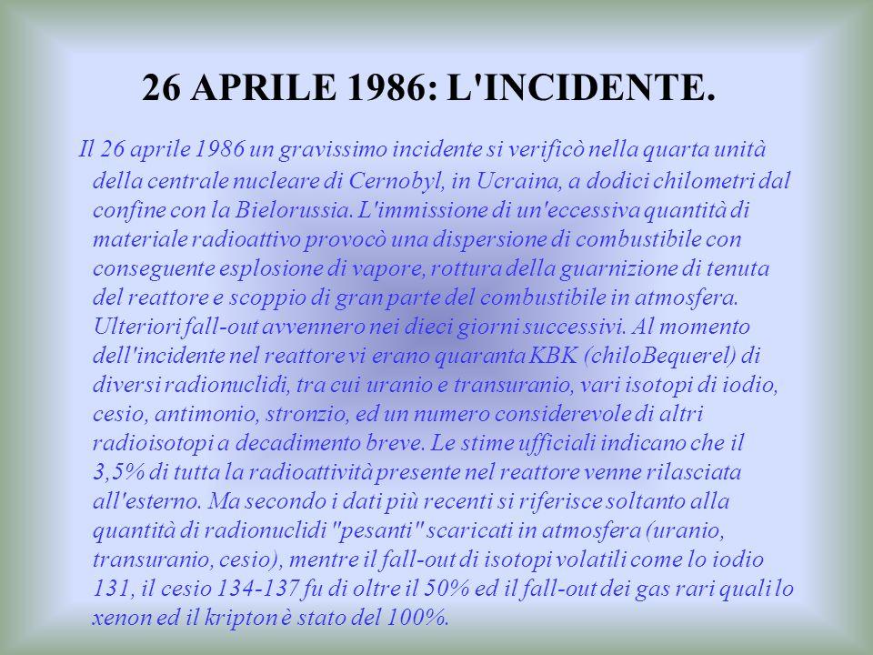 26 APRILE 1986: L INCIDENTE.