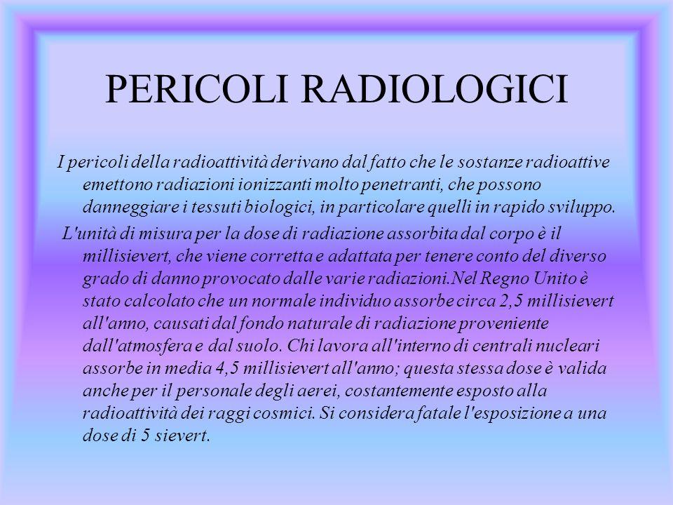 PERICOLI RADIOLOGICI I pericoli della radioattività derivano dal fatto che le sostanze radioattive emettono radiazioni ionizzanti molto penetranti, che possono danneggiare i tessuti biologici, in particolare quelli in rapido sviluppo.