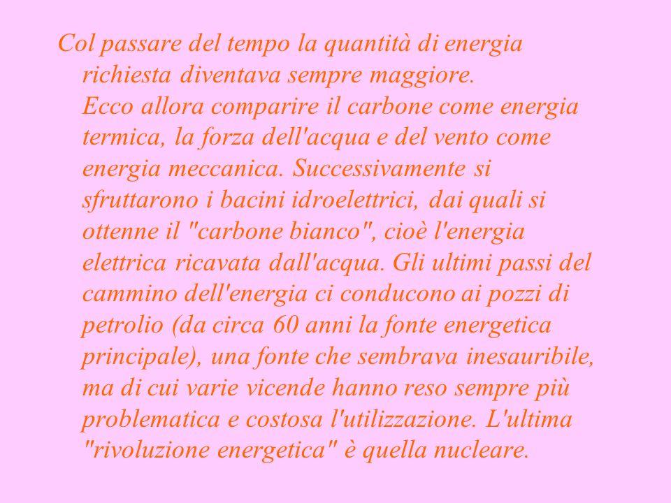 Col passare del tempo la quantità di energia richiesta diventava sempre maggiore.