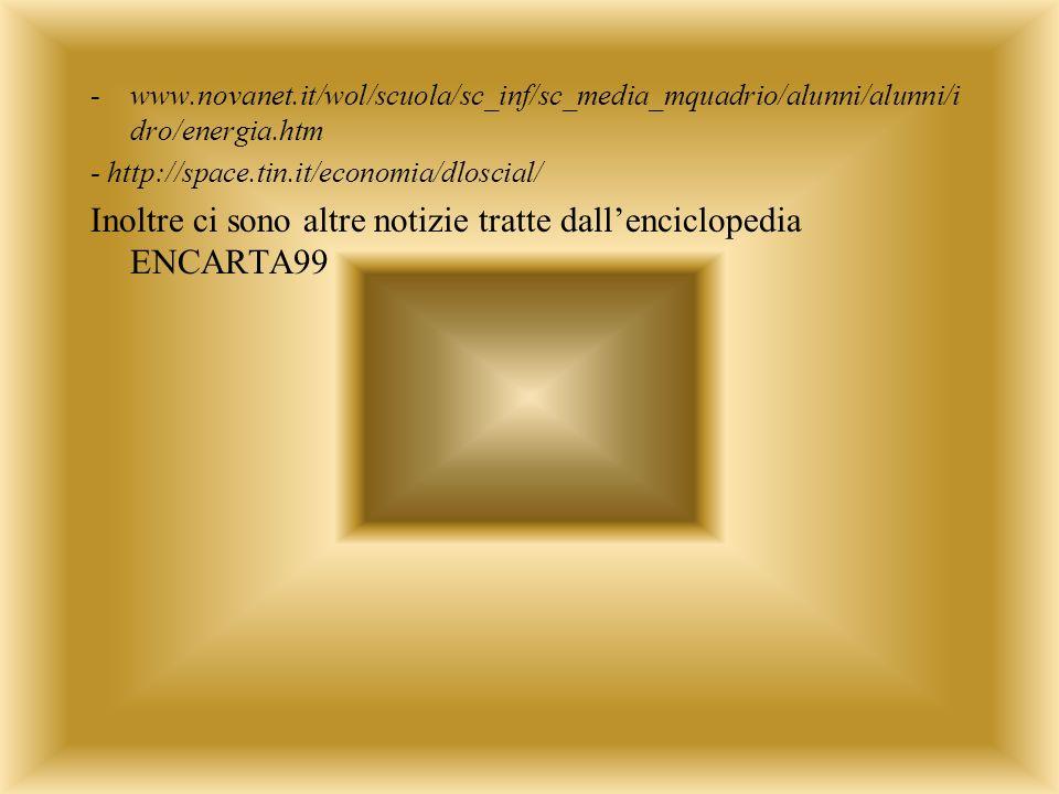 -www.novanet.it/wol/scuola/sc_inf/sc_media_mquadrio/alunni/alunni/i dro/energia.htm - http://space.tin.it/economia/dloscial/ Inoltre ci sono altre notizie tratte dallenciclopedia ENCARTA99