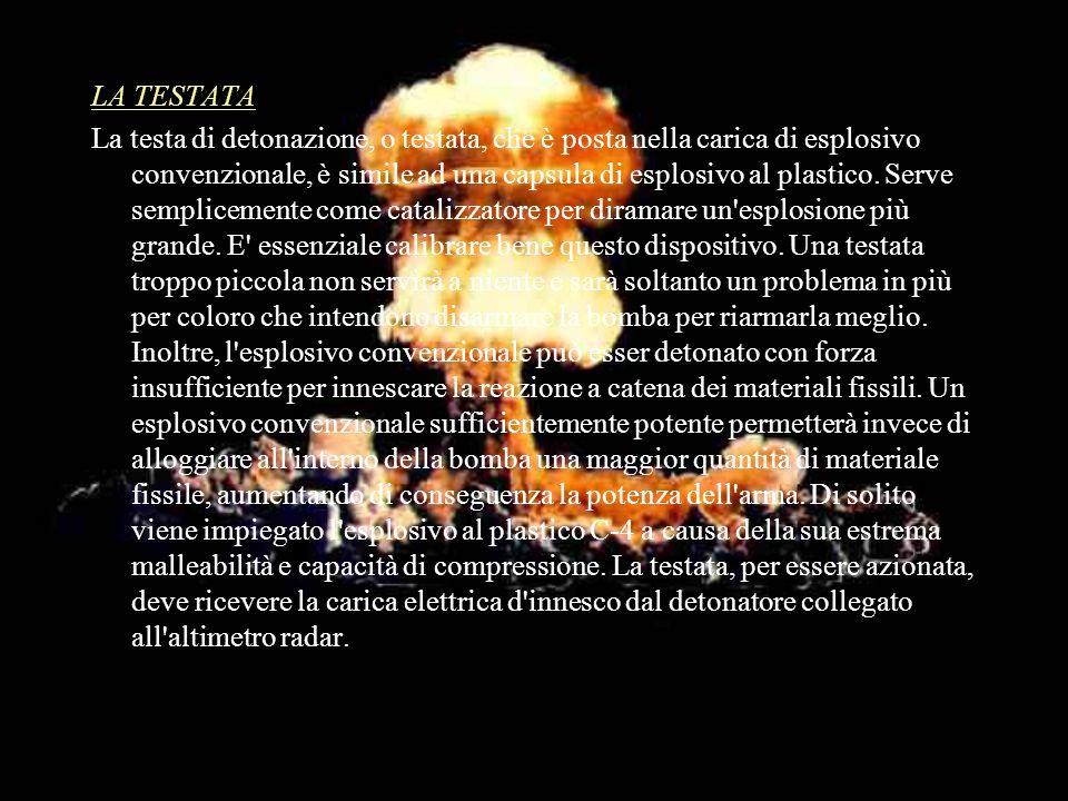LA TESTATA La testa di detonazione, o testata, che è posta nella carica di esplosivo convenzionale, è simile ad una capsula di esplosivo al plastico.