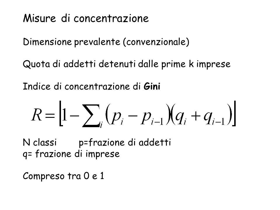 Misure di concentrazione Dimensione prevalente (convenzionale) Quota di addetti detenuti dalle prime k imprese Indice di concentrazione di Gini N clas
