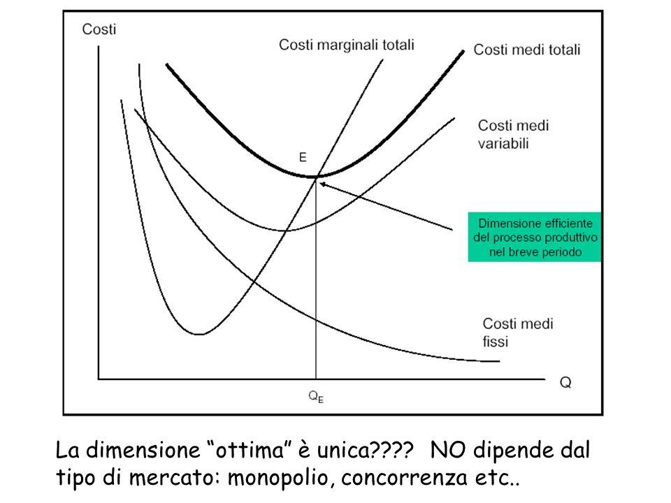 La dimensione ottima è unica???? NO dipende dal tipo di mercato: monopolio, concorrenza etc..