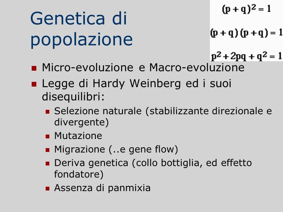 Genetica di popolazione Micro-evoluzione e Macro-evoluzione Legge di Hardy Weinberg ed i suoi disequilibri: Selezione naturale (stabilizzante direzion