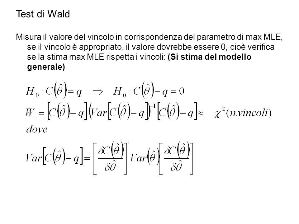 Test di Wald Misura il valore del vincolo in corrispondenza del parametro di max MLE, se il vincolo è appropriato, il valore dovrebbe essere 0, cioè verifica se la stima max MLE rispetta i vincoli: (Si stima del modello generale)