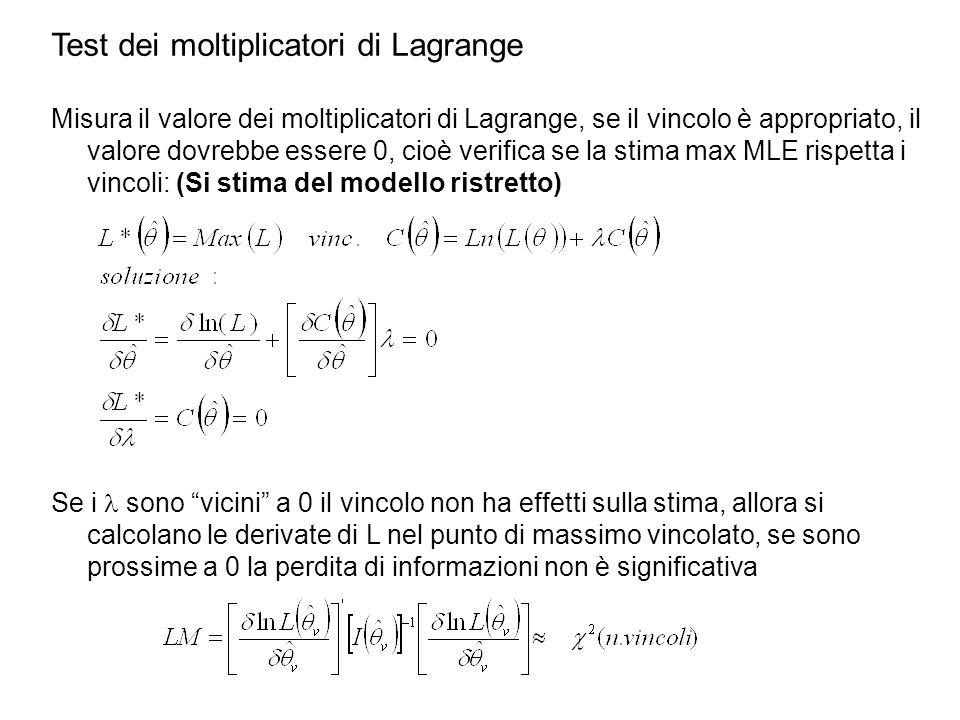 Test dei moltiplicatori di Lagrange Misura il valore dei moltiplicatori di Lagrange, se il vincolo è appropriato, il valore dovrebbe essere 0, cioè verifica se la stima max MLE rispetta i vincoli: (Si stima del modello ristretto) Se i sono vicini a 0 il vincolo non ha effetti sulla stima, allora si calcolano le derivate di L nel punto di massimo vincolato, se sono prossime a 0 la perdita di informazioni non è significativa