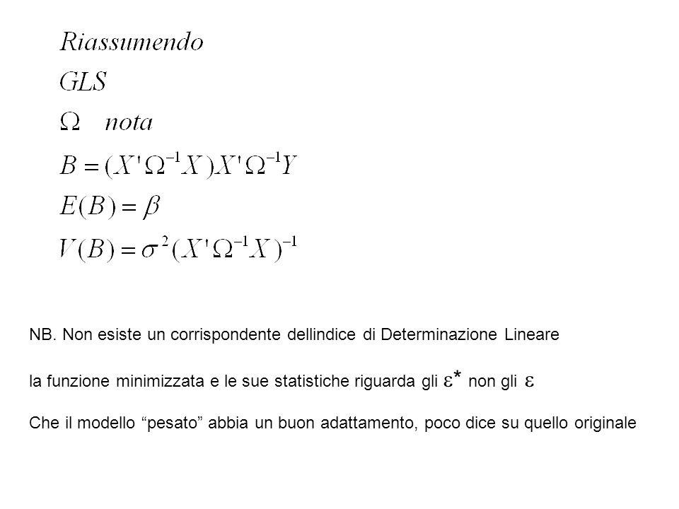 NB. Non esiste un corrispondente dellindice di Determinazione Lineare la funzione minimizzata e le sue statistiche riguarda gli * non gli Che il model