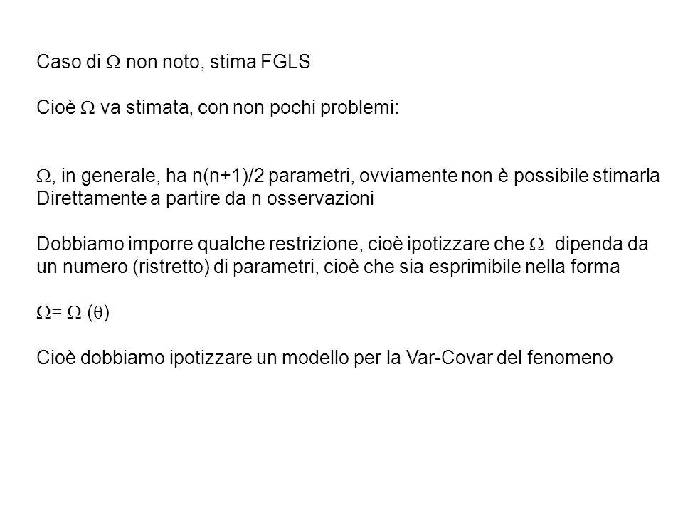 Caso di non noto, stima FGLS Cioè va stimata, con non pochi problemi:, in generale, ha n(n+1)/2 parametri, ovviamente non è possibile stimarla Diretta