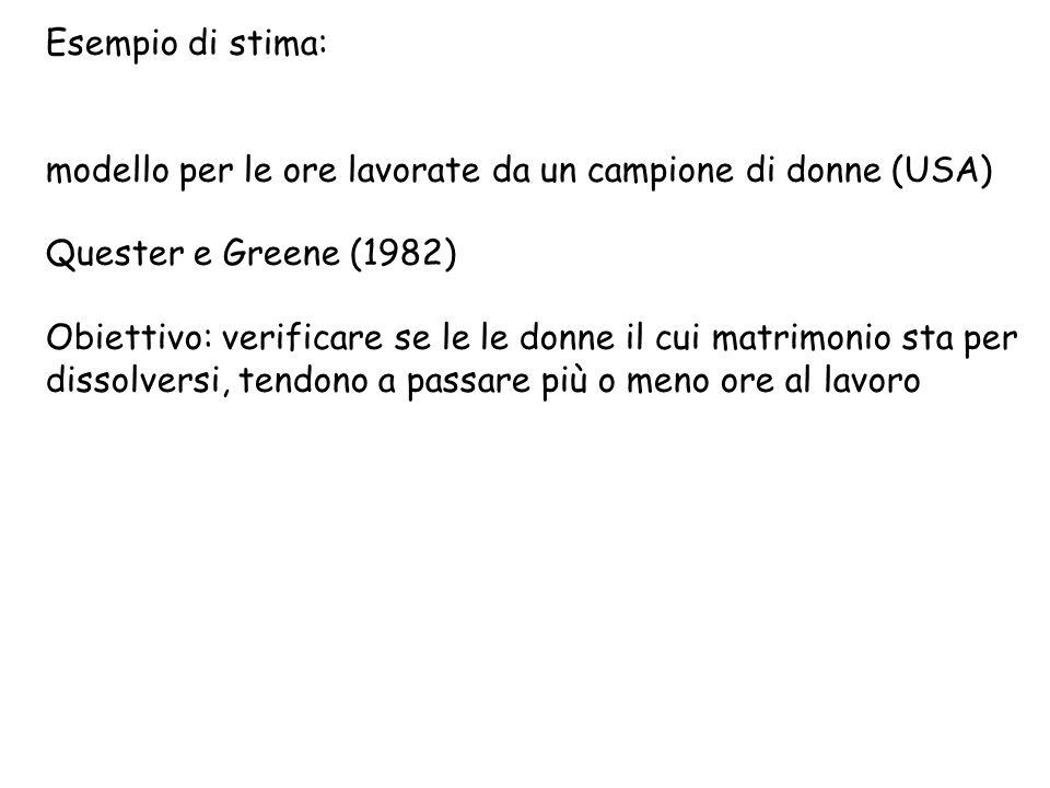 Esempio di stima: modello per le ore lavorate da un campione di donne (USA) Quester e Greene (1982) Obiettivo: verificare se le le donne il cui matrim