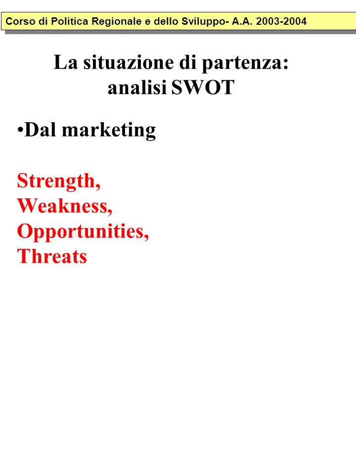 La situazione di partenza: analisi SWOT Dal marketing Strength, Weakness, Opportunities, Threats