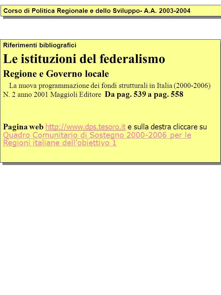 Riferimenti bibliografici Le istituzioni del federalismo Regione e Governo locale La nuova programmazione dei fondi strutturali in Italia (2000-2006) N.