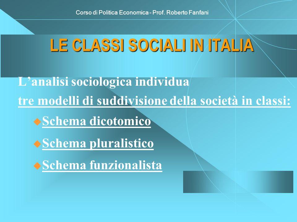 Corso di Politica Economica - Prof. Roberto Fanfani LE CLASSI SOCIALI IN ITALIA Lanalisi sociologica individua tre modelli di suddivisione della socie