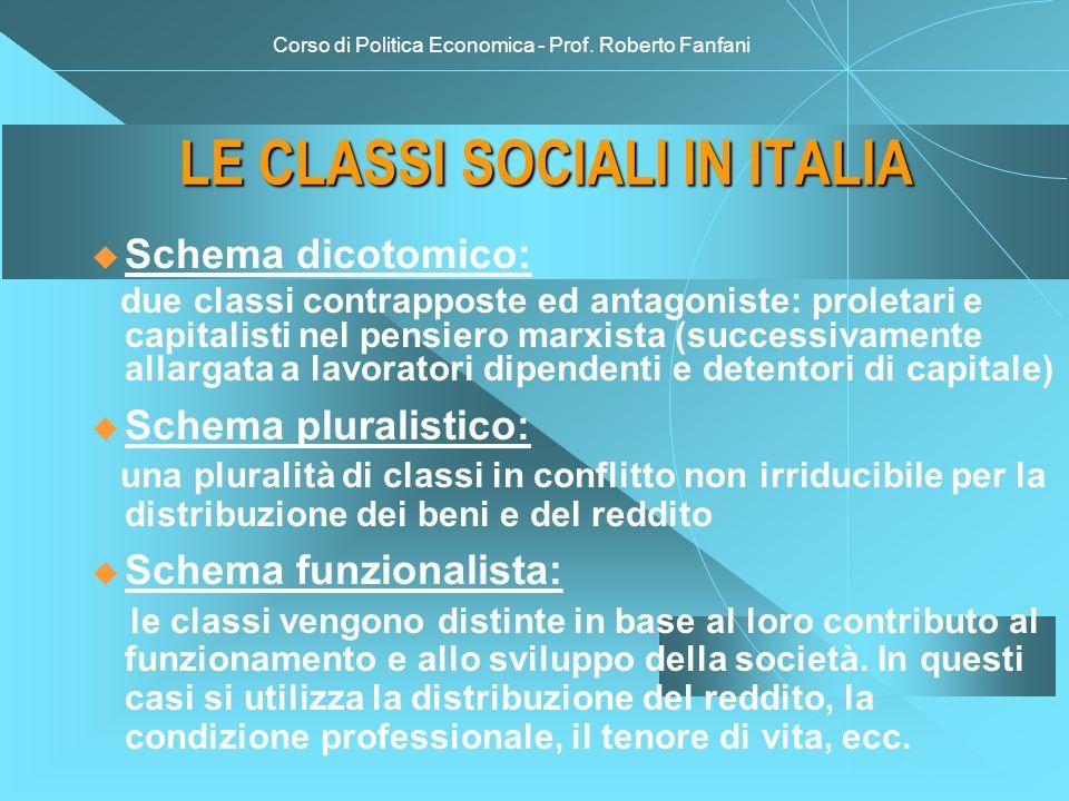 Corso di Politica Economica - Prof. Roberto Fanfani LE CLASSI SOCIALI IN ITALIA u Schema dicotomico: due classi contrapposte ed antagoniste: proletari