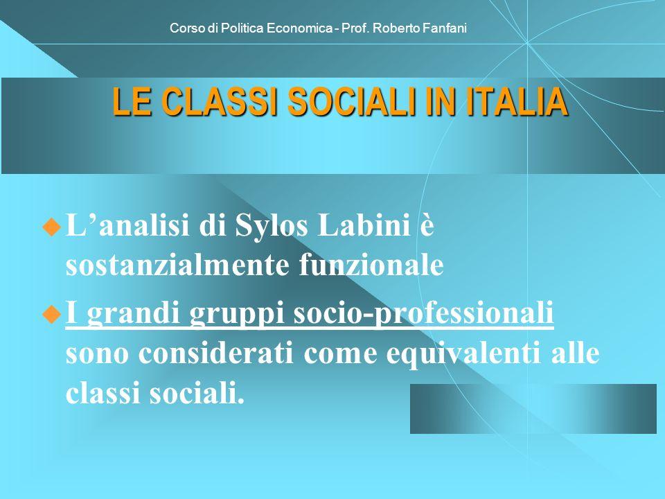 Corso di Politica Economica - Prof. Roberto Fanfani LE CLASSI SOCIALI IN ITALIA Lanalisi di Sylos Labini è sostanzialmente funzionale I grandi gruppi