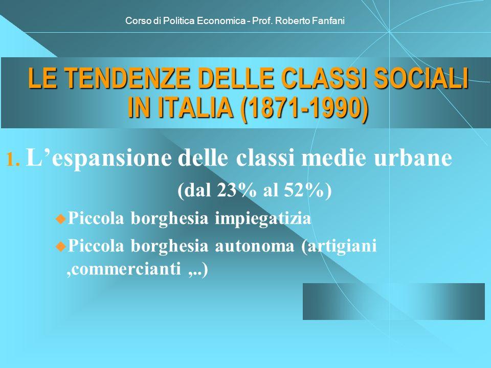 Corso di Politica Economica - Prof. Roberto Fanfani LE TENDENZE DELLE CLASSI SOCIALI IN ITALIA (1871-1990) 1. Lespansione delle classi medie urbane (d