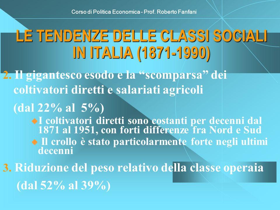 Corso di Politica Economica - Prof. Roberto Fanfani LE TENDENZE DELLE CLASSI SOCIALI IN ITALIA (1871-1990) 2. Il gigantesco esodo e la scomparsa dei c