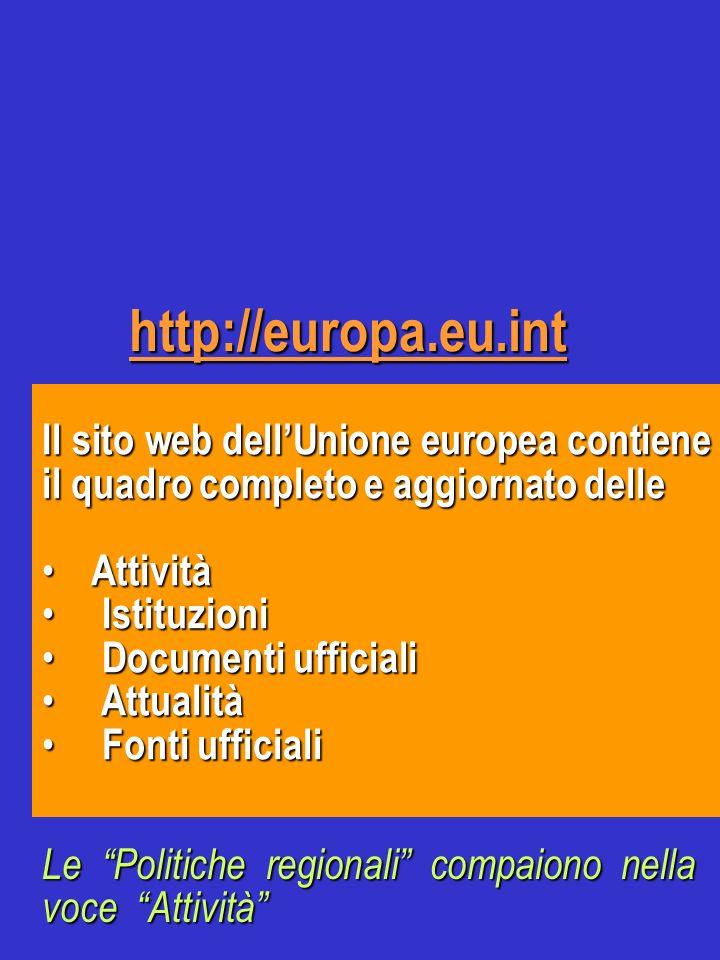 http://europa.eu.int Il sito web dellUnione europea contiene il quadro completo e aggiornato delle Attività Attività Istituzioni Istituzioni Documenti
