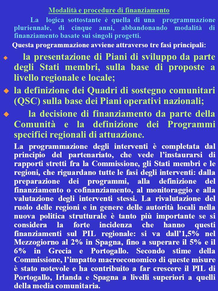 Modalità e procedure di finanziamento La logica sottostante è quella di una programmazione pluriennale, di cinque anni, abbandonando modalità di finan