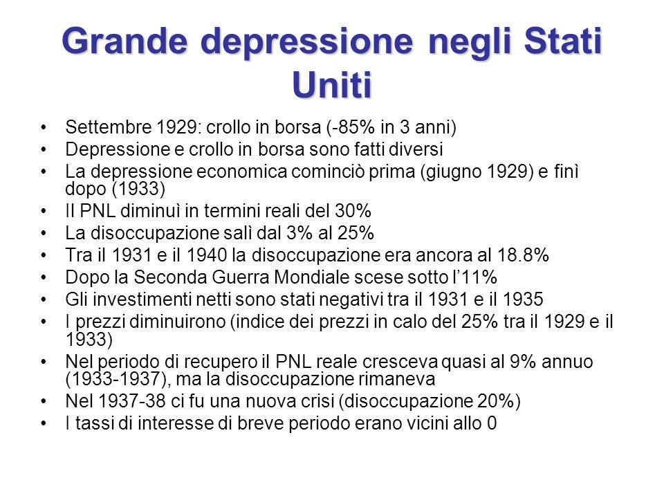 Grande depressione negli Stati Uniti Settembre 1929: crollo in borsa (-85% in 3 anni) Depressione e crollo in borsa sono fatti diversi La depressione economica cominciò prima (giugno 1929) e finì dopo (1933) Il PNL diminuì in termini reali del 30% La disoccupazione salì dal 3% al 25% Tra il 1931 e il 1940 la disoccupazione era ancora al 18.8% Dopo la Seconda Guerra Mondiale scese sotto l11% Gli investimenti netti sono stati negativi tra il 1931 e il 1935 I prezzi diminuirono (indice dei prezzi in calo del 25% tra il 1929 e il 1933) Nel periodo di recupero il PNL reale cresceva quasi al 9% annuo (1933-1937), ma la disoccupazione rimaneva Nel 1937-38 ci fu una nuova crisi (disoccupazione 20%) I tassi di interesse di breve periodo erano vicini allo 0