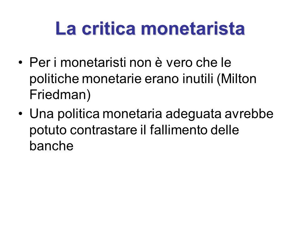 La critica monetarista Per i monetaristi non è vero che le politiche monetarie erano inutili (Milton Friedman) Una politica monetaria adeguata avrebbe potuto contrastare il fallimento delle banche