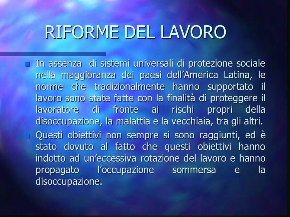 RIFORME DEL LAVORO n In assenza di sistemi universali di protezione sociale nella maggioranza dei paesi dellAmerica Latina, le norme che tradizionalme