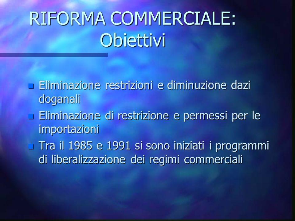 RIFORMA COMMERCIALE: Obiettivi n Eliminazione restrizioni e diminuzione dazi doganali n Eliminazione di restrizione e permessi per le importazioni n Tra il 1985 e 1991 si sono iniziati i programmi di liberalizzazione dei regimi commerciali