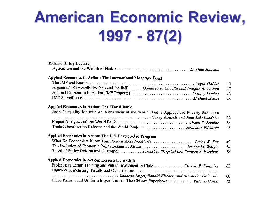 American Economic Review, 1997 - 87(2)