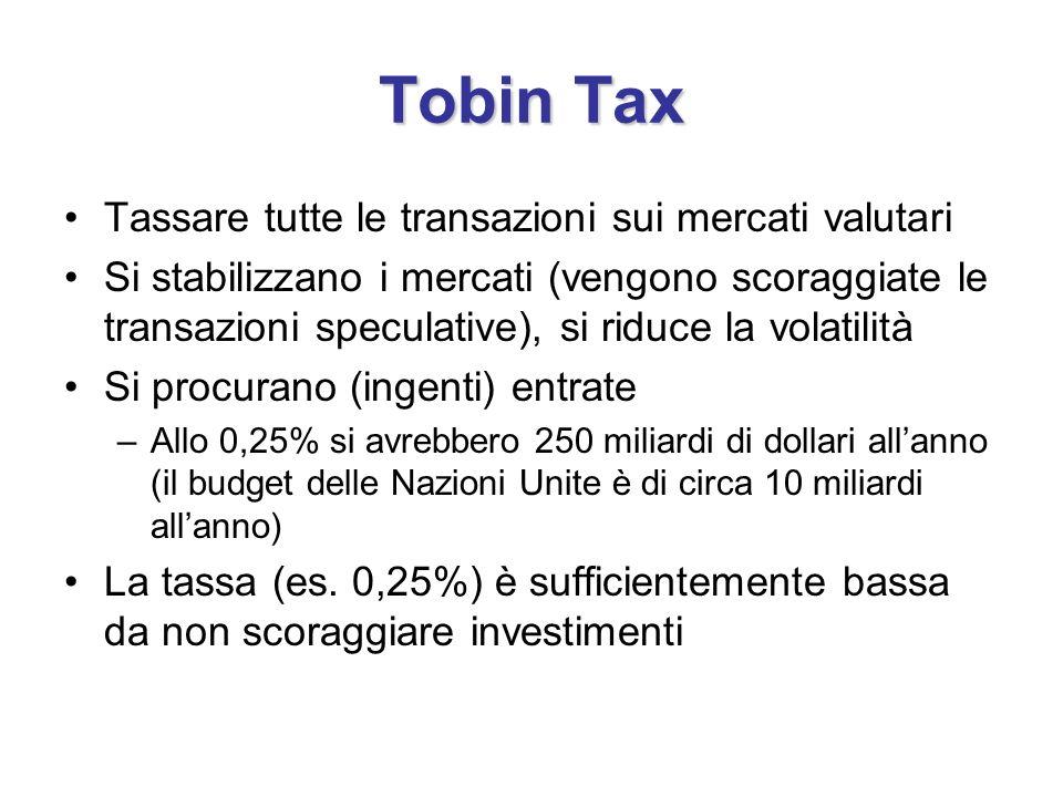 Tobin Tax Tassare tutte le transazioni sui mercati valutari Si stabilizzano i mercati (vengono scoraggiate le transazioni speculative), si riduce la v