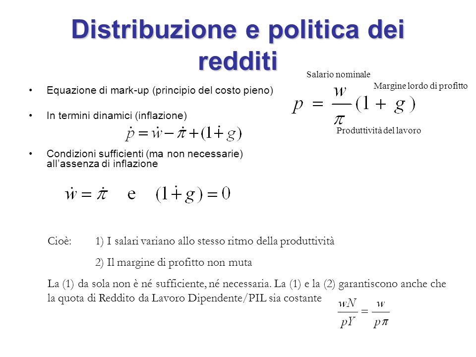 Distribuzione e politica dei redditi Equazione di mark-up (principio del costo pieno) In termini dinamici (inflazione) Condizioni sufficienti (ma non