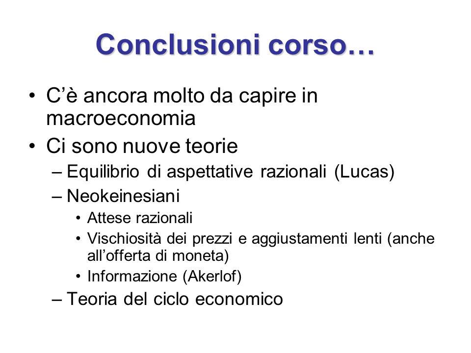 Conclusioni corso… Cè ancora molto da capire in macroeconomia Ci sono nuove teorie –Equilibrio di aspettative razionali (Lucas) –Neokeinesiani Attese