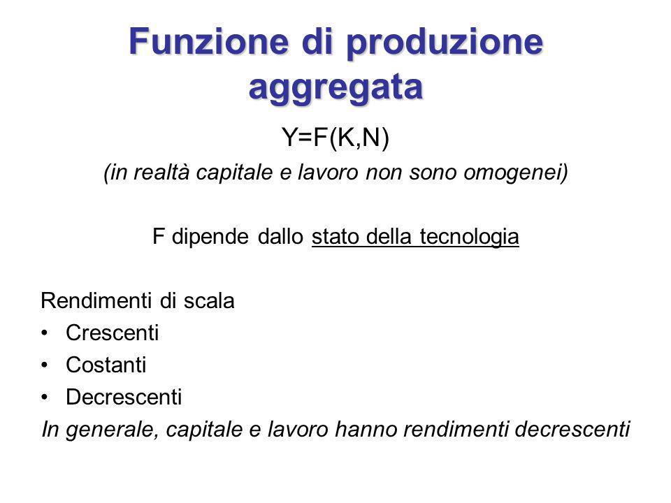 Funzione di produzione aggregata Y=F(K,N) (in realtà capitale e lavoro non sono omogenei) F dipende dallo stato della tecnologia Rendimenti di scala Crescenti Costanti Decrescenti In generale, capitale e lavoro hanno rendimenti decrescenti