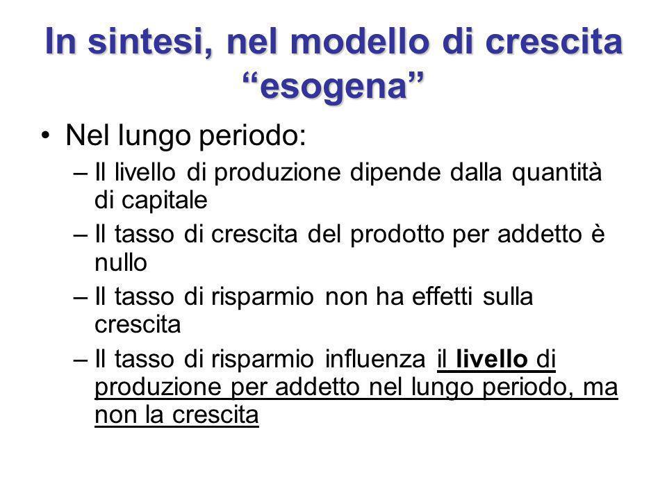 In sintesi, nel modello di crescita esogena Nel lungo periodo: –Il livello di produzione dipende dalla quantità di capitale –Il tasso di crescita del